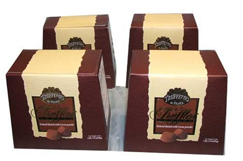 Chocmod Truffettes de France Natural Truffles, Plain, 1000-Gram Boxes (Pack of 4)