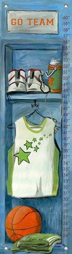 Oopsy Daisy Basketball Locker Growth Chart by Jones Segarra, 12 by 42-Inch