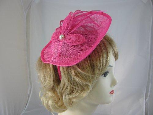 Elegant Hot Pink sinamay head band fascinator,Petal