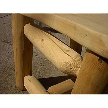 Rustic White Cedar Log Walk in Octagon Picnic Table- Medium Size- Amish Made USA