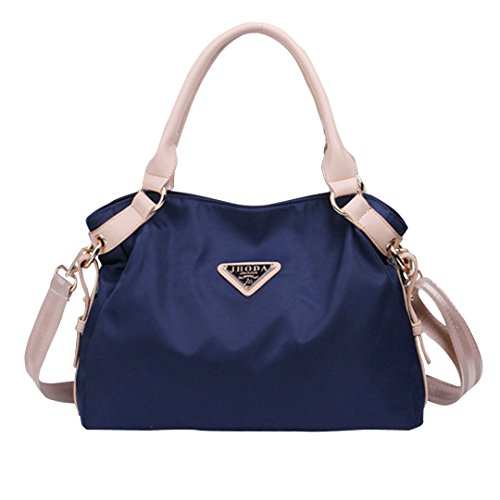 CY Women's Pure Color Elegant Tote Handbag Waterproof Nylon Shoulder Bag