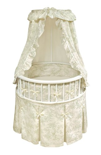 Badger Basket Elegance Round Baby Bassinet, White with Sage Toile