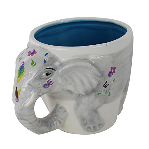 TMD Holdings EEE0504 Festive 3D Indian Elephant Hand Painted and Covered with Rhinestones Novelty Coffee Mug, 16 oz, Grey