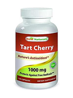 Tart Cherry Extract 1000 mg 120 Capsules - Manufactured in a USA Based GMP Certified and FDA Inspected Facility and Third Party Tested for Purity. Guaranteed!!' by Best Naturals