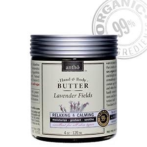 Organic Body Cream - Raw Shea Butter - Lavender 4oz/120ml by Antho Organic