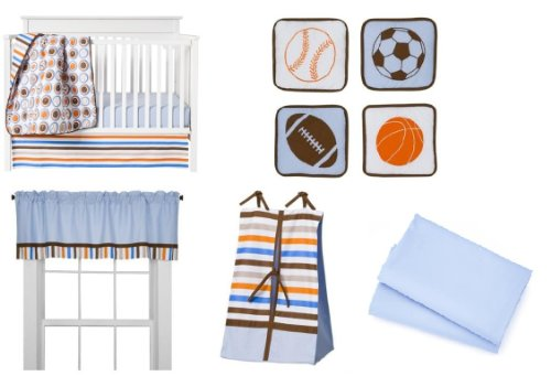 Mod Sports Blue 9pc Crib Set