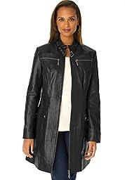 Jessica London Women\'s Plus Size 3/4-Length Leather Jacket Black,18