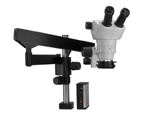 Scienscope Nz-Pk3-Led-Fx Nz Series Nz Stereo Zoom Binocular Microscope, Eye Guards, Articulating Arm With 76Mm Focus Mount, 10X Eyepieces, 0.5X Auxiliary Lens, Led Illuminator, Heavy Duty, Led Ring Light With Power Supply