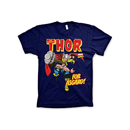 Officially Licensed Merchandise Marvel Comics The Mighty Thor - For Asgard! T-Shirt (Navy), X-Large