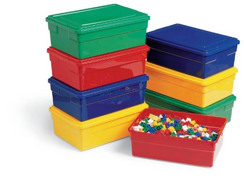 Childcraft Storage Box With Lid - 16 X 11 X 6 Inches - Yellow front-1006754