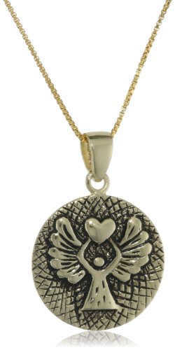 """Gold over Sterling Silver """"Guardian Angel Protect Me Wherever I Go and Keep Me From Harm"""" Reversible Angel Pendant Necklace, 18″"""