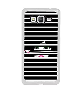 Girl looking through Blinds 2D Hard Polycarbonate Designer Back Case Cover for Samsung Galaxy Grand Prime :: Samsung Galaxy Grand Prime Duos :: Samsung Galaxy Grand Prime G530F G530FZ G530Y G530H G530FZ/DS