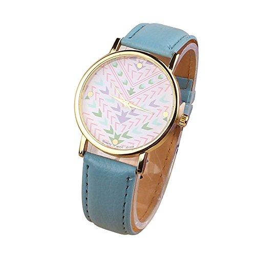 Zps(Tm) Fashion Quartz Aztec Tribal Pattern Leather Wrist Watch(Blue)