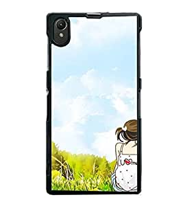 Fuson Premium 2D Back Case Cover U' & 'Me' With White Background Degined For Sony Xperia Z1::Sony Xperia Z1 L39h