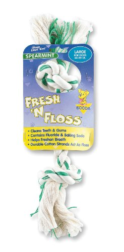 Booda Fresh N Floss 2 Knot Bone Rope Dog Toy, Large, Spearmint