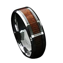 buy Gnex 8Mm Tungsten Carbide Simulated Wood Inset Beveled Edge Wedding Band Ring Size 9.5
