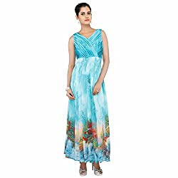 Madhus world Woman MultiColored 3D Printed V Neck Gown _GN00016C
