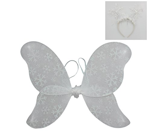 Child Glittered Snowflake Fairy Wings with Snowflake Headband - One Size 3-10 Yrs