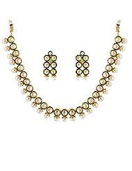 The Jewelbox Kundan Uncut Pearl Polki Gold Plated Chocker Necklace Earring Set