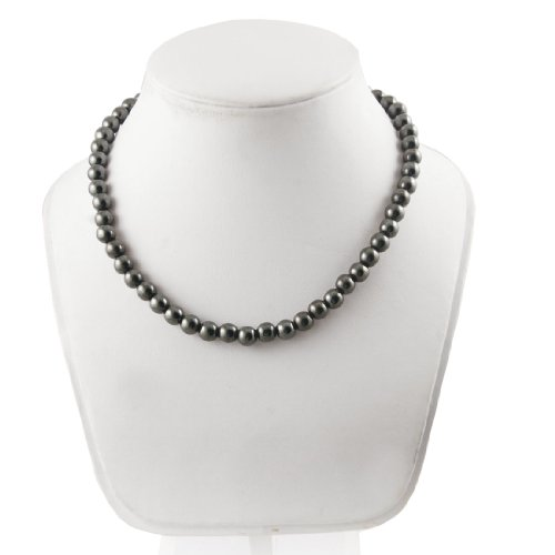 Rosallini Connected Black Polished Magnet Beads Necklace for Man