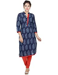 Amour Blue Cotton Cambric 60S Straight Digital Printed Kurti For Women