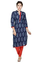 Amour Blue Cotton Cambric 60S Straight Digital Printed Kurti For Women_L
