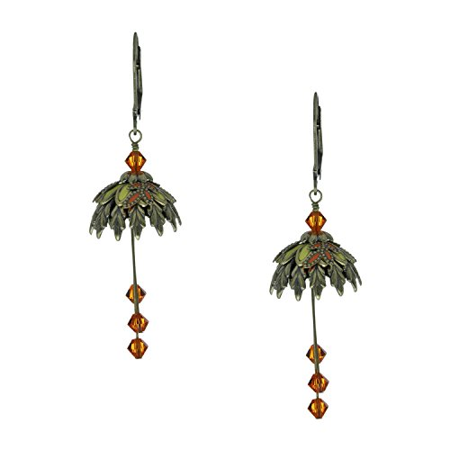 [NoMonet Flower Fairy Vintage Style Hand Painted Memento Dangle Earrings - Orange, Green] (Clockwork Orange Costume Female Diy)
