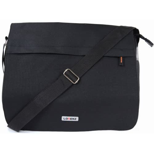 Large Canvas Style Messenger   Work Bag with Fold-over Flap and Multiple Pockets (Black, Olive Green, Khaki Sand)