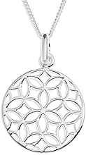 Ornami Sterling Silver Pierced Out Flower Disc Pendant on Chain of 46cm