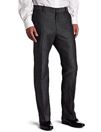 Perry Ellis Men's Herringbone Pant, Black, 36x30