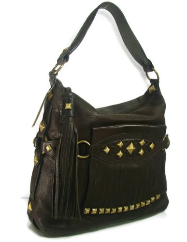 Designer Purses Michael Kors Collegiate Top Zip Fringe Stud Hobo Shoulder Handbag