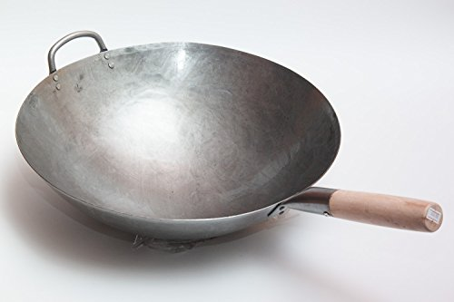 Heavy Hand Hammered Carbon Steel Pow Wok with Wooden and Steel Helper Handle (16 Inch, Round Bottom) / 731W138 (16 Wok Carbon compare prices)