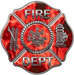 Fire Dept Maltese Cross Red Inferno Flames - 12