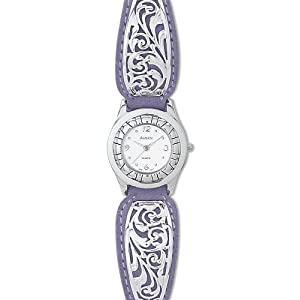 avalon lady rancher western watch-lavender blossom with 925 sterling silver keeper and buckle no 7373
