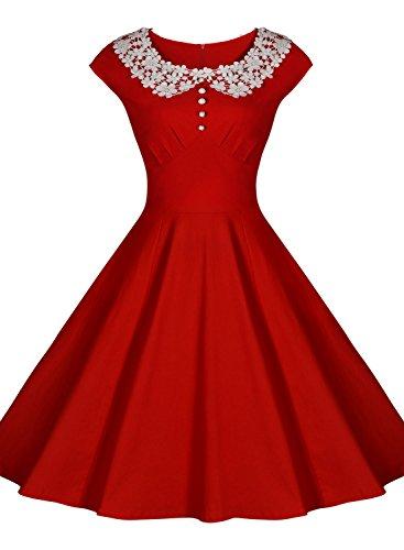 Miusol Women Classy Vintage Audrey Hepburn Style 1940 Rockabilly Evening Dress/ Size XL/ Red