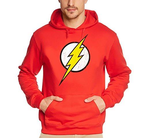 Coole-Fun-T-Shirts - Sweatshirt Flash Blitz Justice League Superhelden Hoodie, Felpa da uomo, rosso(rot), 2XL