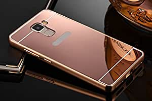 AE (TM) Luxury Metal Bumper + Acrylic Mirror Back Cover Case For HUAWEI HONOR 7 ROSE GOLD