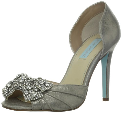 Blue by Betsey Johnson Women's Gown Pump,Silver Metallic,10 M US