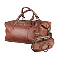 Hawaii Cutter & Buck Brown Leather Weekender Duffel 'Official Logo Debossed' from CollegeFanGear