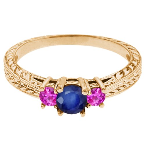 0.62 Ct Round Blue Sapphire Pink Sapphire 14K Yellow Gold 3-Stone Ring