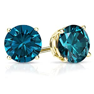 PARIKHS Round Cut Blue Diamond Stud AAA Quality in Yellow Gold (0.50ct)
