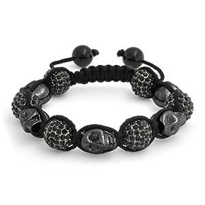 Bling Jewelry Shamballa Inspired Black Skulls Crystal Bead Bracelet 12mm Alloy