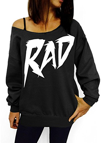 Rad Slouchy Off-Shoulder Sweatshirt - Pink, Black