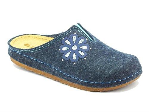Pantofole InBlu per donna in tessuto avio sottopiede in pelle (Taglia 37)