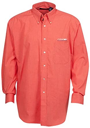 Oxford NCAA Clemson Tigers Mens Mini-Check Button Down by Oxford