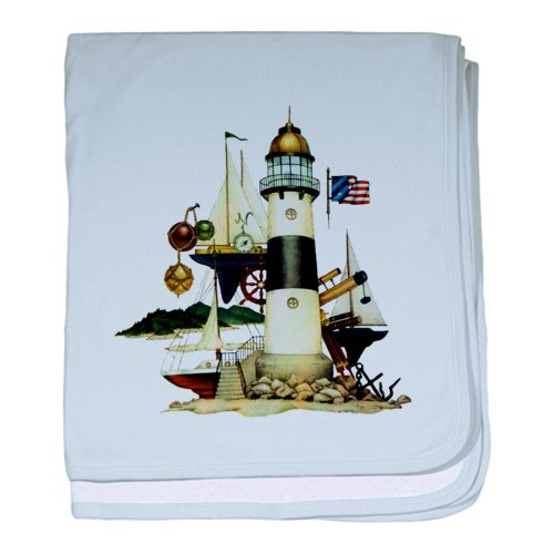 Baby Blanket Sky Blue Nautical Vintage Lighthouse Telescope Steering Wheel Anchor And Ships