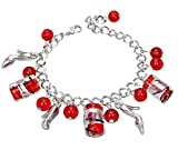 Silver & Red Glass Bead Bracelet With Shoe Charms