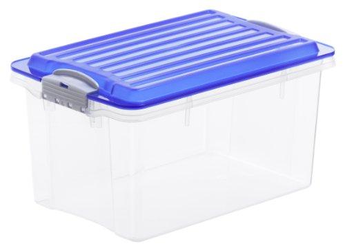 Aufbewahrungskiste COMPACT transparent mit Deckel in blau, Lager Box aus Kunststoff im DIN A5 Format, Inhalt 4,5 Liter, Plastik Kiste ca. 27 x 18,5 x 15 cm