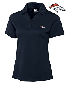 Denver Broncos Ladies Ladies Drytec Genre Polo Navy Blue by Cutter & Buck