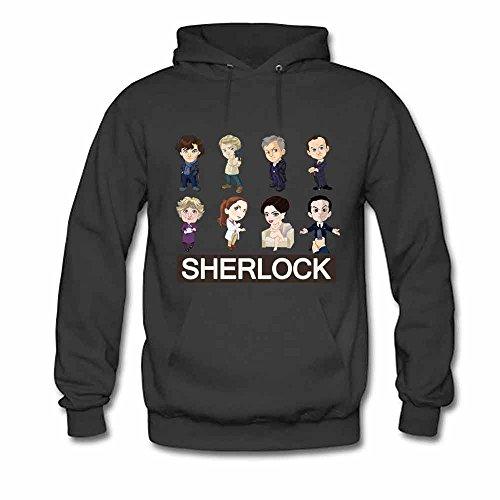 Men's Hoodie Sherlock Cartoon Characters Print Sweatshirt 3XL